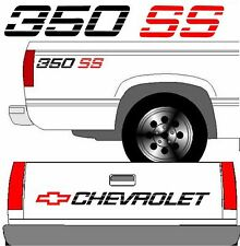 CHEVROLET SS Tailgate Truck Lettering + (2) 350 SS Vehicle Vinyl Decal Black SET
