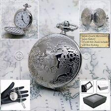SILVER Antique Pocket Watch 42 MM Quartz Arabic Numbers Men Gift Chain Box P187
