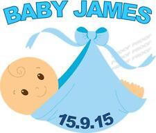 1 LARGE PERSONALISED BABY SHOWER BOY IRON ON T SHIRT TRANSFER LIGHT FABRICS