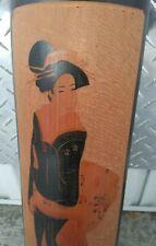"Japanese Hand Painted Carved Bamboo ""Geisha"" Wall Art"