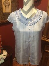Talbots Sz. 4 Silk Cap Sleeve Baby Blue Career Top Blouse