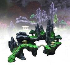 Aquarium Ornament Mountain View Rockery Cave Fish Tank Decoration Landscape B GA