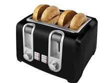 4 Slice Wide Extra Slot Black Toaster Bagel Bread Breakfast Snack