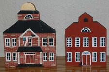 (2) Cat's Meow '83 School + '84 Town Hall Set of Wooden Shelf Sitters Signed