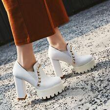 Fashion Womens Platform Rivet Retro Punk Platform Block Heel Gothic Shoes Plus s