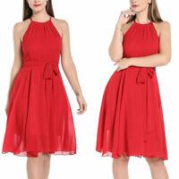 Ladys Lady Halter Sleeveless Chiffon Lace Dress Stitching Bow-knot Midi Dresses