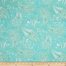 By 1/2 Yard ~ Free Spirit Christmas Fabric ~ Merry Mistletoe Paisley in Aqua