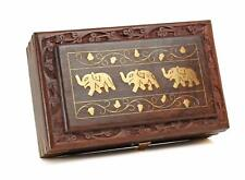 Wooden Jewelry Box Brass Inlay Unique Elephant Design 8 X 5 Inches