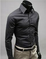 Mens Formal Dress Business Long sleeve Button front Casual Shirts Tops Blouses