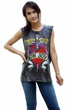Bon Jovi Metal  Vintage Retro Rock Band Tank Top Vest Singlet Black T Shirt