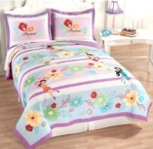 "Disney Fairies Stripes Standard Pillow Sham 20"" x 26"" NIP Tinkerbell Quilted"