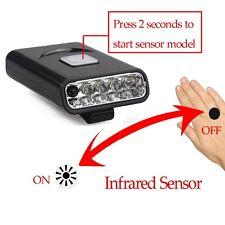 USB Rechargeable 5LED Black Bright Lightweight Sensor Hat Clip Headlight Light!
