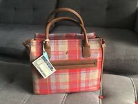 Joules Womens Day To Day Tweed Bag ONE in RED CHECK in One Size