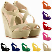 Women's 14cm High Heels Ladies Party Suede Platform Pumps Shoes Wedge Sandals