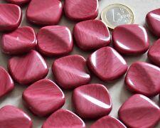 """lot de 5 gros boutons carrés originaux """" rose foncé """"  mercerie 24mm button"""