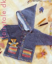 FAST & FREE TO UK   DK KNITTING PATTERN TO MAKE HOODED JACKET with Teddies