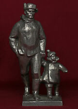 Very RARE Russian Soviet FATHER with CHILD metal statue sculpture Propaganda