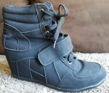 BLACK WEDGE SNEAKERS | Size EU 40 US 9.5 | SUEDE High-top Lace-ups with Velcro