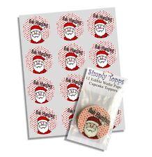12 BAH Humbug Edible Christmas Cupcake Decoration Edible Cake Toppers 40mm Xmas