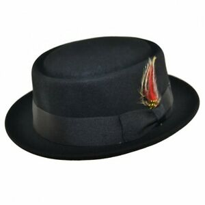 Mens Unisex Handmade 100% Wool Crushable Pork Pie Hat with Removable Feather
