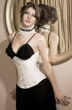 Elegant Sexy Fashion Underbust Corset White Brocade Laced Up Under Bust Size S