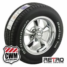 """15x7"""" / 15x8"""" Polished Wheels Rims Tires 225/60R15 245/60R15 for Dodge 1965-1978"""