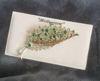 Vintage Hollywood green rhinestone encrusted Leaf Brooch on original card