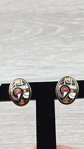 Vintage Art Deco style Enamel geometric design Earrings