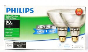 Philips Indoor Outdoor PAR38 Flood 72w Med Base 2 Ct Dimmable Bright Light Bulb