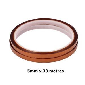 2x 5mm x 33m Adhesive Heat Resistant Polyimide Tape Sublimation Kapton Film