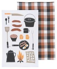 NOW DESIGNS Dish Towel Tea Towels Set of 2 Camp Cookout Print NWT 100% Cotton