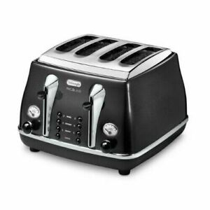 De'Longhi CTOM4003.BK NEW Icona Micalite 4-Slice Toaster with Defrost Function