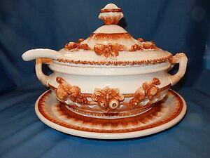 Vintage Soup Tureen Set w/ Platter Ladle Autumn/Fall Colors Hand Decorated Japan