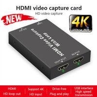 HD 4K 30Hz HDMI Video Capture Card USB 2.0 Mic Game Record Live Streaming