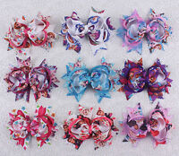 """Lot  9pcs baby girl  4"""" alligator clips Boutique grosgrain hairbows 2783-1-9"""
