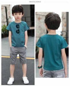 2pcs Kids Boys Short Sleeve cotton T-Shirt+ShortsPants Kids  Casual Clothes  Set