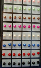 New Fashion Lots 36Pairs 6mm Mixed Colors Imitated Pearl Beads Stud Pin Earrings