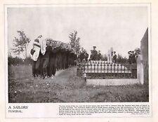 1914 PRINT WWI ~ BRITISH & GERMAN SAILORS FUNERAL AMPHION SHOTTERY HARWICH