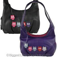 NEW Ladies LEATHER Slouch BAG by MALA Kyoto Collection Owls Shoulder Handbag