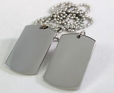 STAINLESS STEEL SOLID MILITARY STYLE (2) DOG TAG PENDANT NECKLACE FREE ENGRAVE