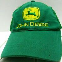 Vintage John Deere Mesh Trucker Hat Cap Snap Back Patch Green with Yellow One Sz