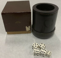 Lightly Used Vintage DICE CUP Shaker Brown Stitched Leather Ribbedw/ Box LR-37