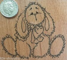 FLUFFY BUNNY RABBIT Cute Wooden Rubber Stamp Creative Expressions *SALE*