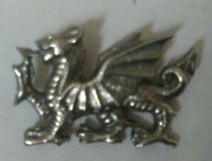 Welsh Dragon Silver Pewter Lapel Pin Badge