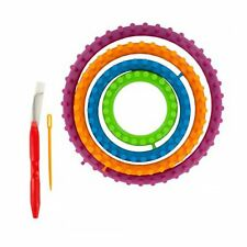 6 pc Set Assorted Size Craft Yarn Knit Loom Round Circles with Hook & Needle