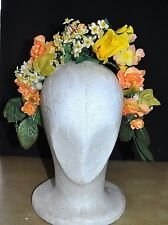 Vintage Yellow Flower Crown, Party, Wedding, Races, Formal, BoHo, Festival