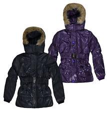 Girls Hooded Puffa Jacket New Kids Winter School Coat Purple Black Ages 3-12 Yrs