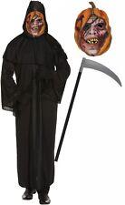 Grim Reaper Scream Halloween Robe Fancy Dress Costume Scythe and Pumpkin Mask