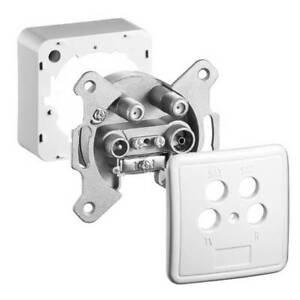 4 fach Antennendose 4 Loch Digital SAT Kabel Dose Full HD 3D Aufputz Unterputz