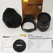 Nikon AF-S VR Nikkor 16-85mm f/3, 5-5,6g ed DX/como nuevo/completo del // distribuidor
